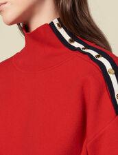 Jersey, cuello alto, botones automáticos : Jerseys & Cárdigans color Rojo