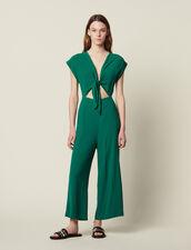 Mono De Pantalón Con Top Anudado : null color Verde