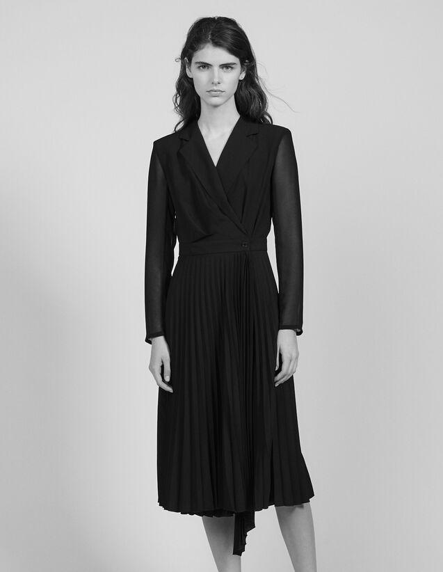 Vestido de manga larga de dos materiales : Vestidos color Negro