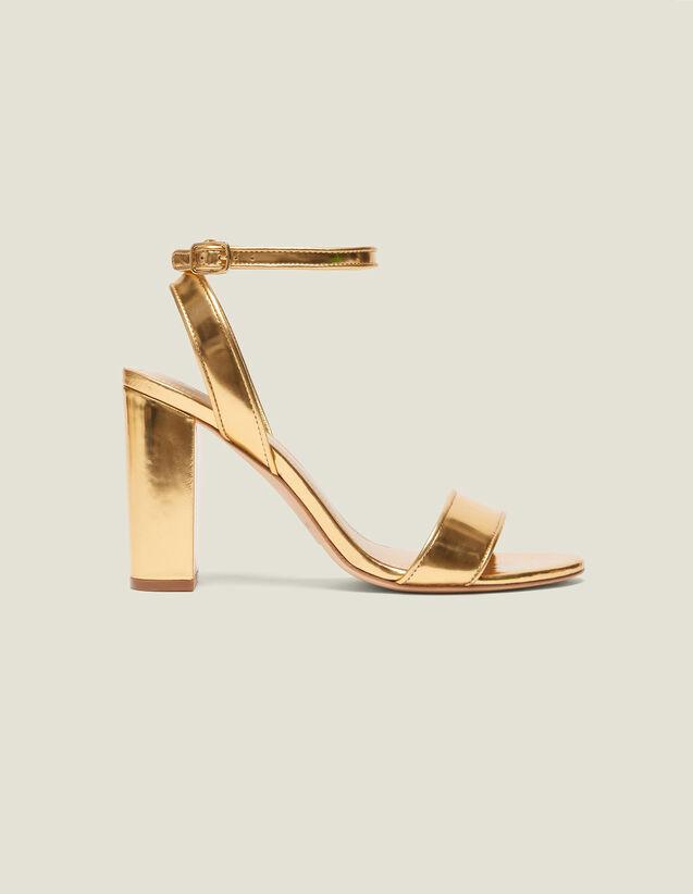 Sandalias De Tacón De Piel Metalizada : null color Oro