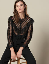 Top de encaje con volantes : Tops & Camisas color Negro