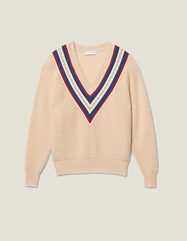 Jersey con cuello en V y pasamano : Jerseys & Cárdigans color Beige