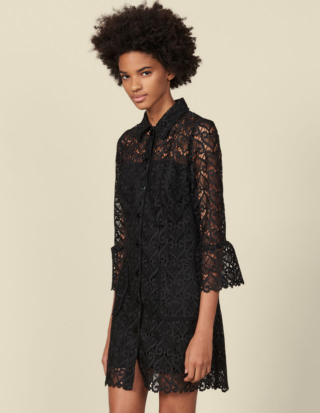 Vestido abrigo de guipur : Vestidos color Negro