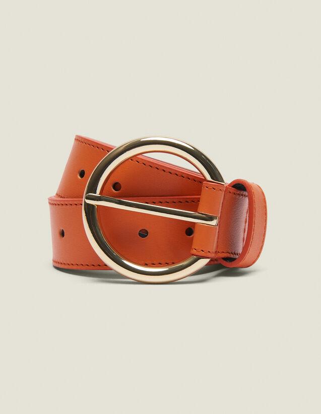 Cinturón De Piel : Coleccion de verano color Naranja