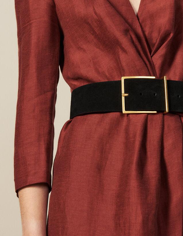 Cinturón Ancho De Serraje : Cinturones color Negro