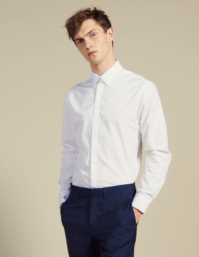 Camisa con tapeta de popelina : Camisas color Blanco