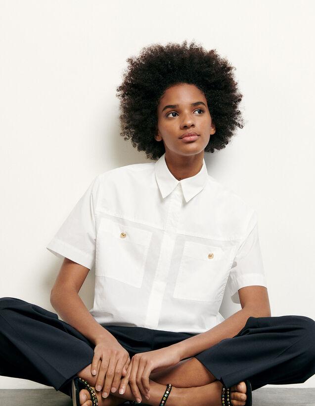Camisa corta con bolsillos de parche : Tops & Camisas color Blanco Óptico