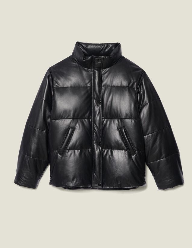 Plumífero Oversize De Piel : Abrigos color Negro