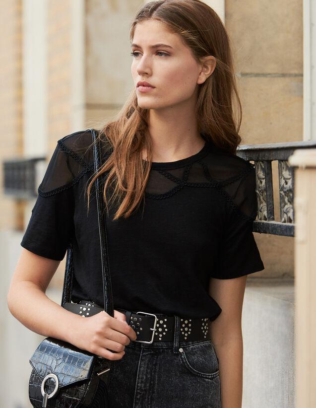 Camiseta con inserto transparente : Camisetas color Negro