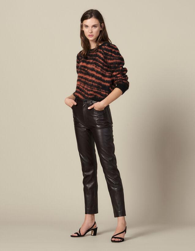 Pantalón de piel recto con cortes : Pantalones color Negro