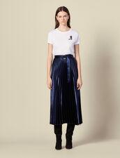 Falda larga de satén con plisado soleil : Faldas & Shorts color Navy
