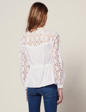 Top De Dos Materiales Con Encaje : Tops & Camisas color Blanco