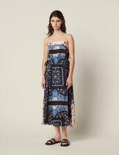 Vestido Midi Fluido Mezcla De Estampados : null color Azul