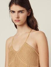 Vestido Largo De Punto De Lúrex Plisado : null color Oro