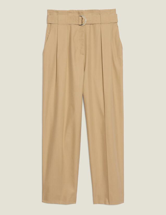 Pantalón Talle Alto Ajustado En Cintura : Pantalones color Beige