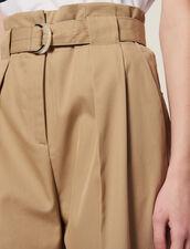 Pantalón Talle Alto Ajustado En Cintura : null color Beige