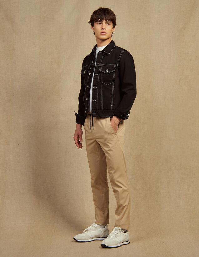 Pantalón Con Cintura Elástica De Algodón : Pantalones & Bermudas color Beige
