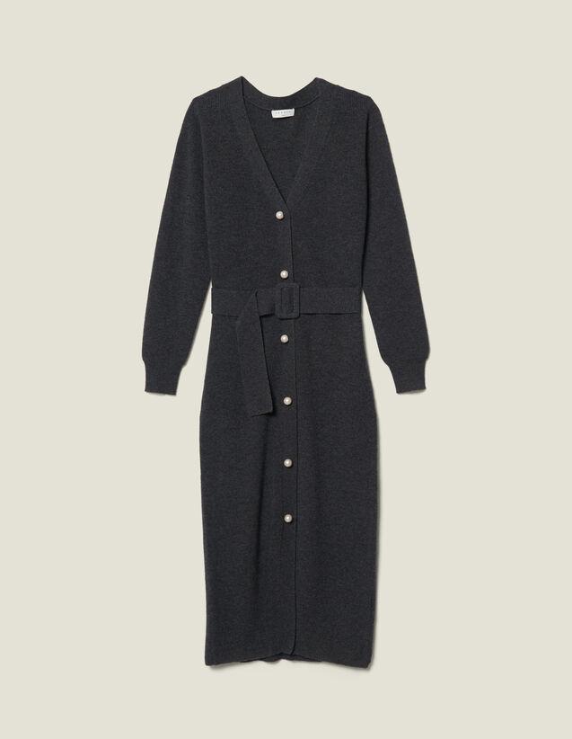 Vestido chaleco de punto de canalé : Vestidos color Gris