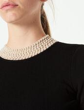 Vestido Corto De Punto, Cuello Con Joyas : null color Negro