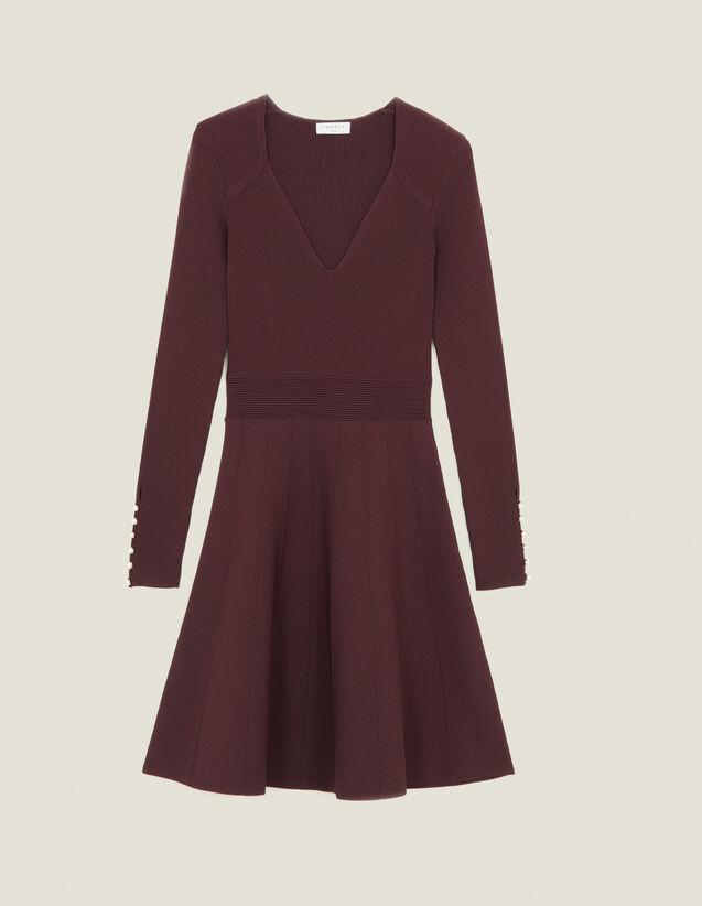 Vestido de punto con botones joya : Vestidos color Brown