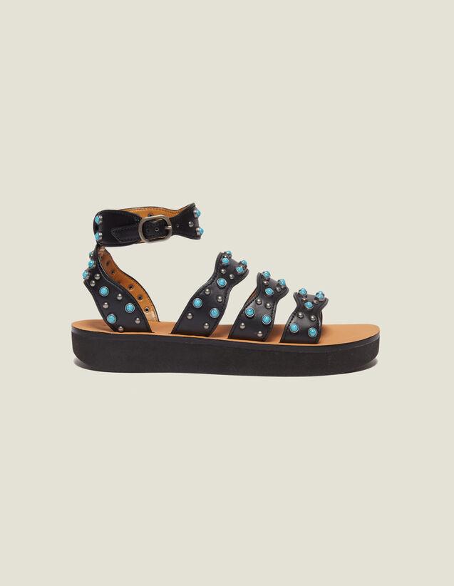 Sandalias Con Plataforma Y Perlas : null color Negro
