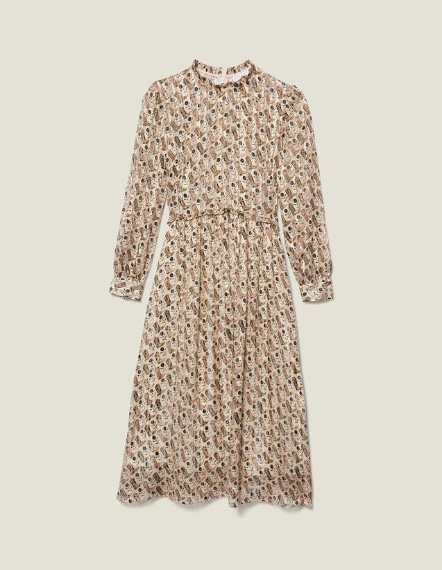 Vestido Midi De Seda De Lúrex Estampada : FBlackFriday-FR-FSelection-30 color Beige