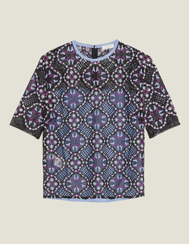 Top De Guipur Floral De Dos Materiales : Camisa estampada color Negro