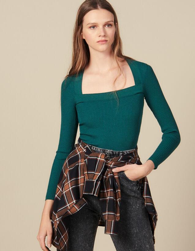 Jersey con escote cuadrado : Jerseys & Cárdigans color Negro