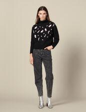 Jersey Con Manchas De Leopardo : -50% color Negro