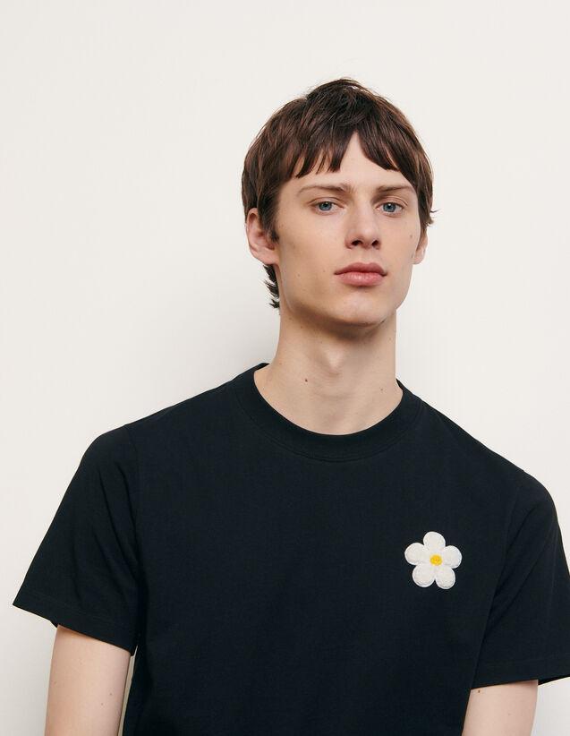 Camiseta de algodón con parche bordado : Colección de Verano color Negro