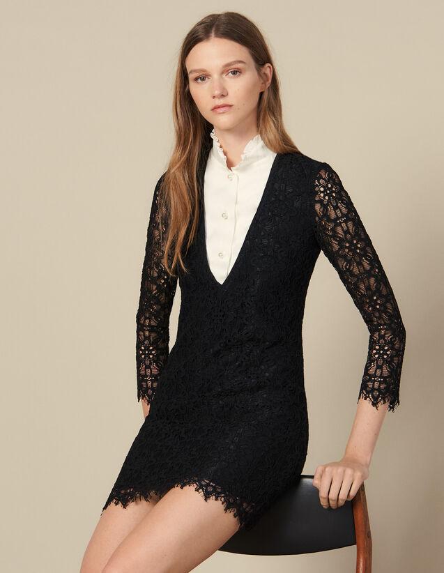 Vestido Corto Efecto Trampantojo : Vestidos color Negro