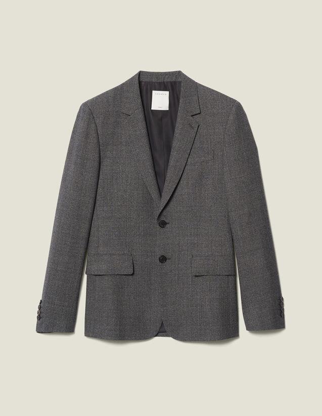 Chaqueta de traje de mezclilla de lana : LastChance-IT-H50 color Gris Moteado