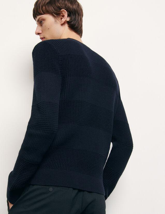 Jersey de cuello redondo de algodón : Jerseys & Cárdigans color Marino