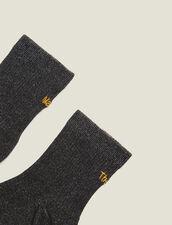 Calcetines De Lúrex Con Bordado : null color Negro