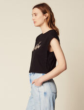 Camiseta Corta Con Mensaje De Perlas : null color Negro