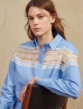 Camisa De Rayas Con Inserto De Encaje : null color Azul