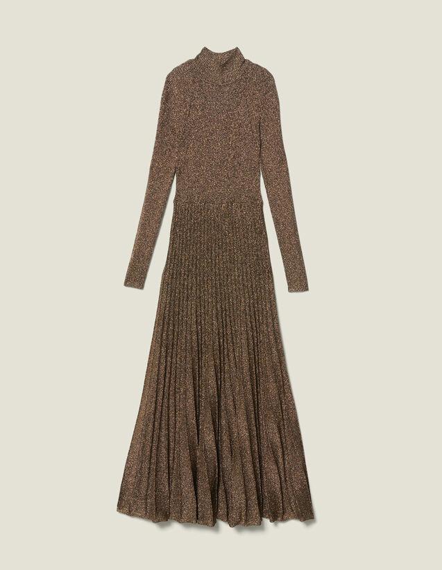 Vestido largo de punto de lúrex : Colección Evening color Oro