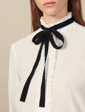 Camisa de seda con lazo : Tops & Camisas color Crudo