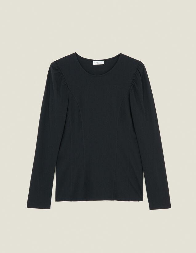 Camiseta De Punto Con Cortes : Camisetas color Negro