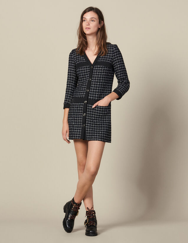 Vestido abrigo corto de tweed : Vestidos color Marino
