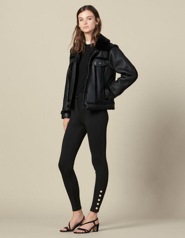 Legging Con Botones Automáticos : Pantalones color Negro
