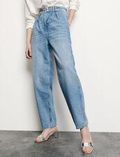 Vaquero de talle alto y botones perlados : Vaqueros color Bleu jean
