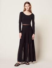 Vestido Largo De Punto Y Espalda Abierta : null color Negro