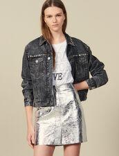 Falda Corta De Piel Plateada : FBlackFriday-FR-FSelection-Jupes&Shorts color Plata