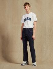 Pantalón Con Pespuntes En Contraste : Pantalones & Bermudas color Marino