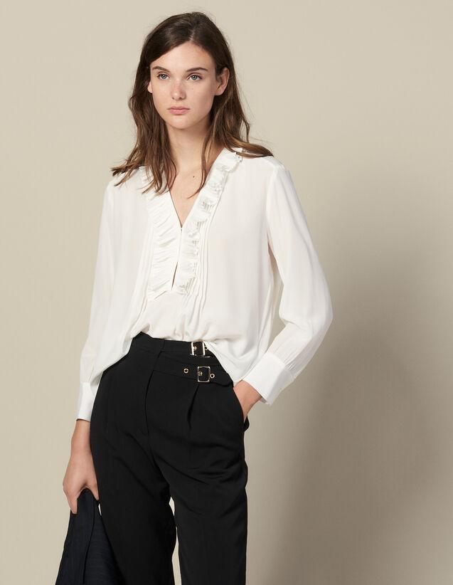 Top De Seda, Escote Bordado Con Plisado : Tops & Camisas color Crudo