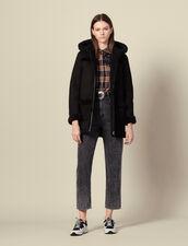 Abrigo largo de piel lanuda con capucha : SOLDES-DE-FSelection-PAP&ACCESS color Negro