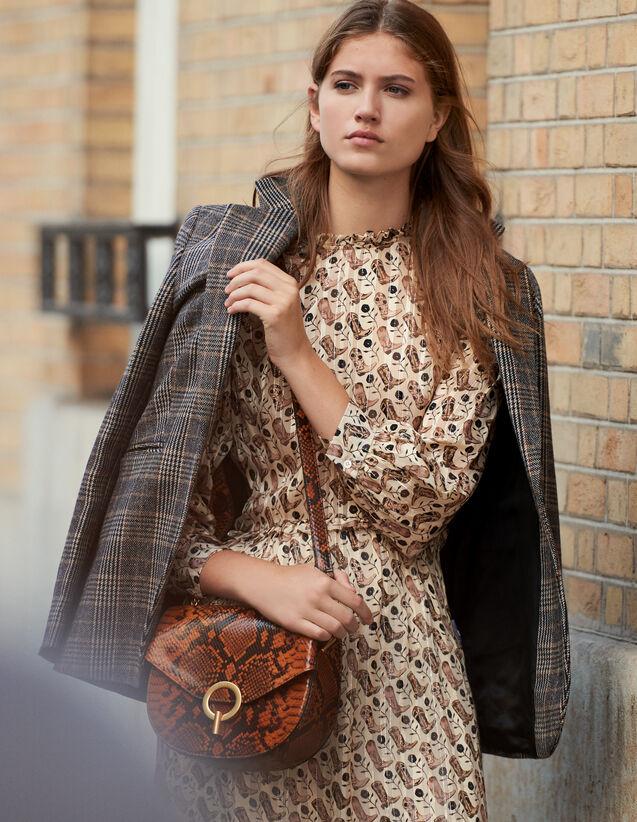 Vestido Midi De Seda De Lúrex Estampada : Vestidos color Beige