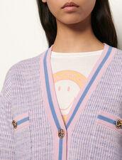 Cárdigan corto efecto tweed : Jerseys & Cárdigans color Bleu/Rose