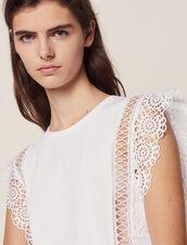 Camiseta Con Pasamanos De Encaje : null color Blanco